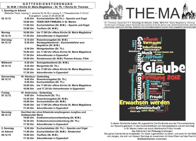 The-Ma zum 1. Sonntag im Advent (02.12.2012)