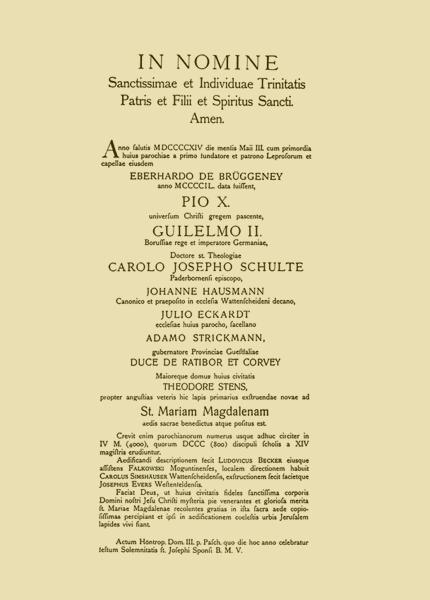 Urkunde vom 3. Mai 1914