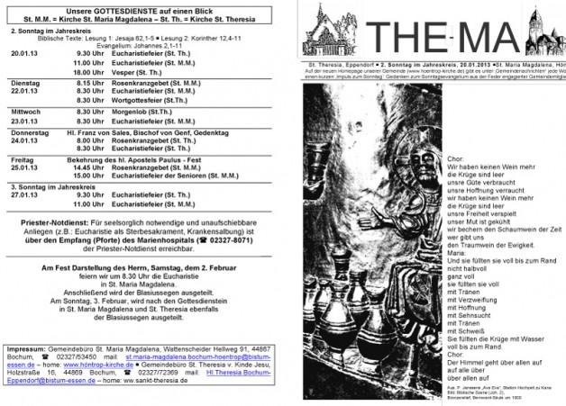 The-Ma zum 2. Sonntag im Jahreskreis (20.01.2013)