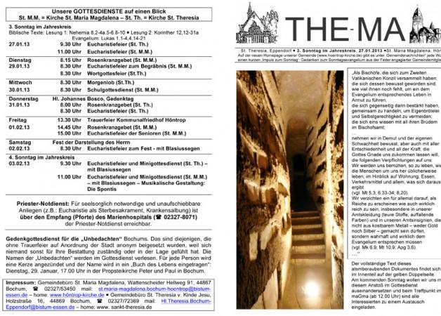 The-Ma zum 3. Sonntag im Jahreskreis (27.01.2013)