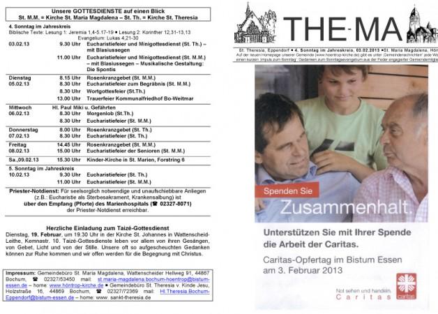 The-Ma zum 4. Sonntag im Jahreskreis (03.02.2013)