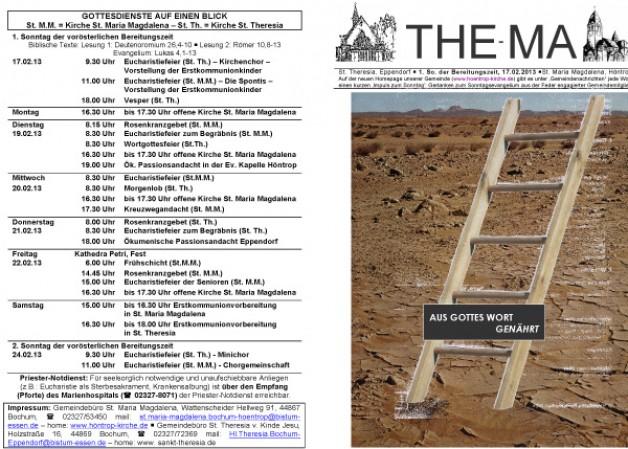 The-Ma zum 1. Sonntag der Bereitungszeit 2013 (17.02.2013)