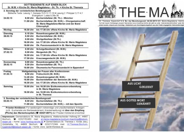The-Ma zum 2. Sonntag der Bereitungszeit 2013 (24.02.2013)