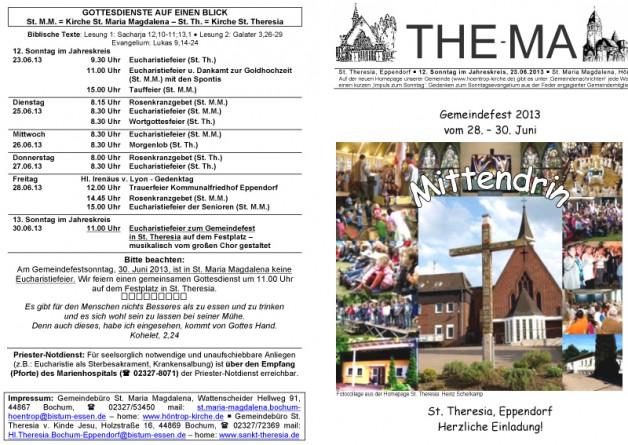 The-Ma zum 12. Sonntag im Jahreskreis 2013