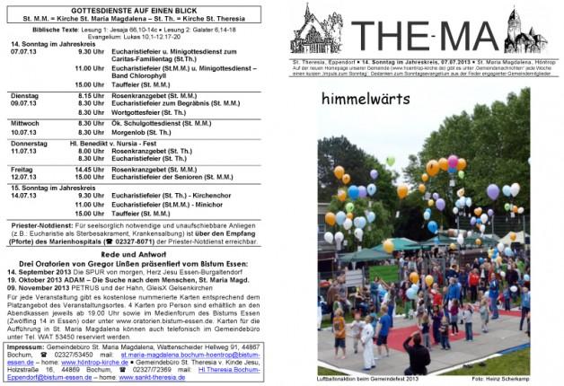 The-Ma zum 14. Sonntag im Jahreskreis 2013
