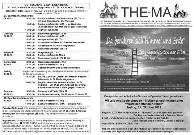 The-Ma für den 27. Sonntag im Jahreskreis (06.10.2013)