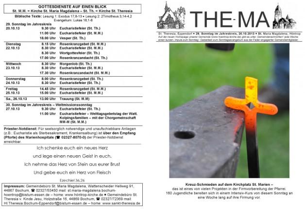 The-Ma für den 29. Sonntag im Jahreskreis (20.10.2013)