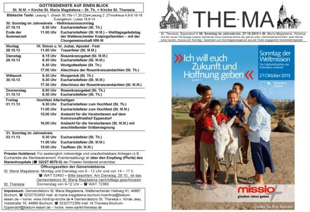 The-Ma für den 30. Sonntag im Jahreskreis (27.10.2013)