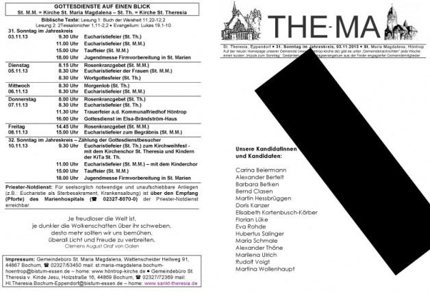 The-Ma für den 31. Sonntag im Jahreskreis (03.11.2013)
