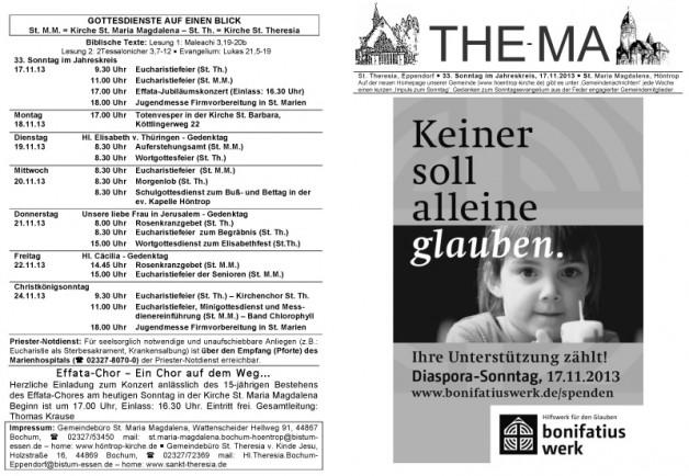 The-Ma für den 33. Sonntag im Jahreskreis (17.11.2013)