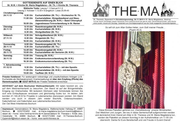 The-Ma für den 34. Sonntag im Jahreskreis (24.11.2013)