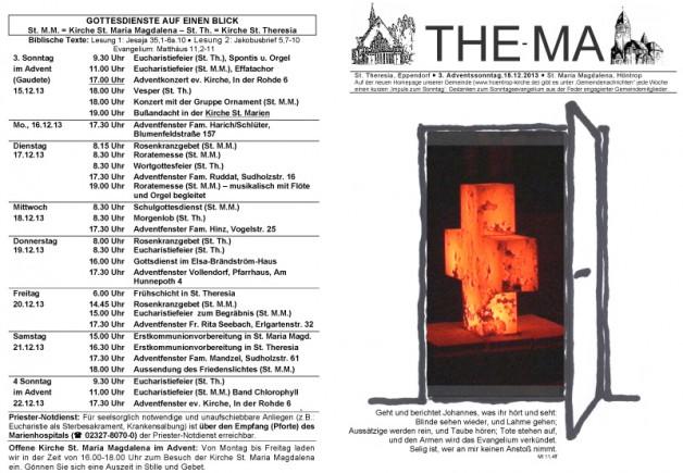 The-Ma für den 3. Adventssonntag 2013 (15.12.2013)