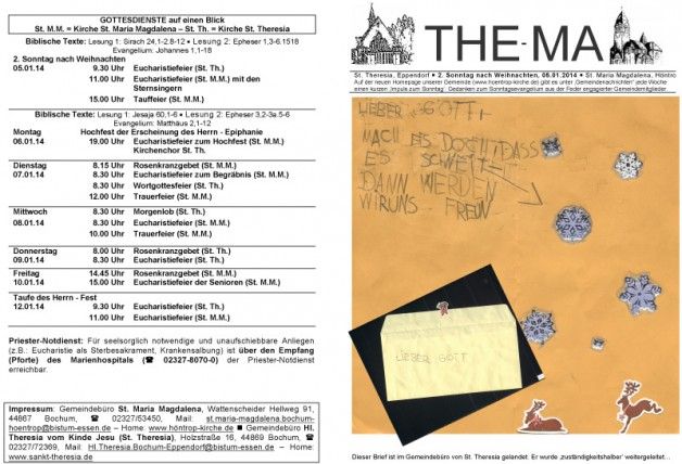 The-Ma für 2. Sonntag nach Weihnachten 2014