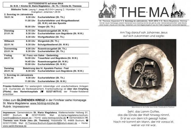The-Ma zum 2. Sonntag im Jahreskreis 2014 (19.01.2014)