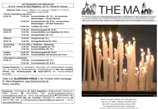 Bild: Kerzen, die von den Jugendlichen nach ihrer Firmung (Dezember 2013 in St. Marien) an den Altart gestellt worden sind.