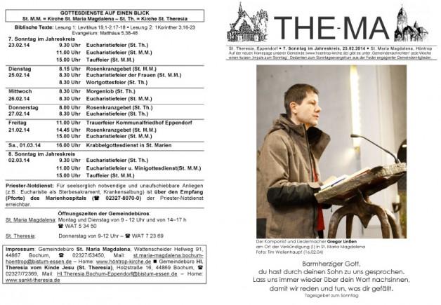The-Ma zum 7. Sonntag im Jahreskreis 2014 (23.02.2014)