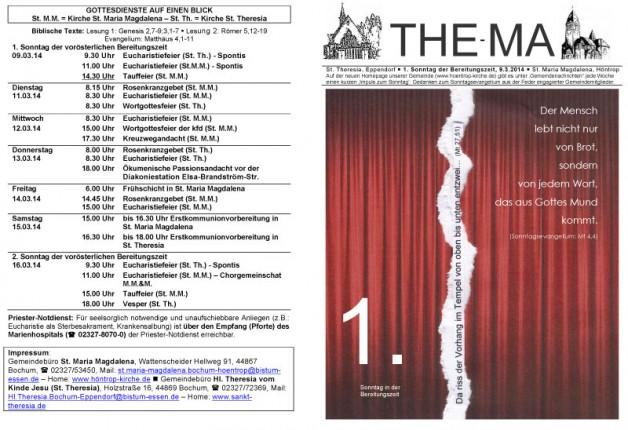 The-Ma zum 9. Sonntag im Jahreskreis 2014 (09.03.2014)