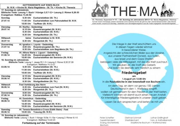 The-Ma zum 17. - 20. Sonntag im Jahreskreis 2014 (27.07. bis 17.08.14)