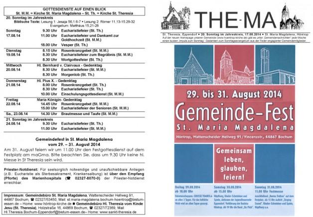 The-Ma zum 20. Sonntag im Jahreskreis 2014 (17.08.14)