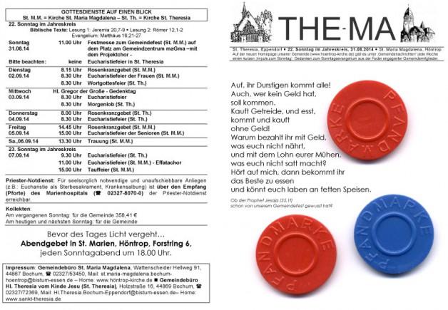 The-Ma zum 22. Sonntag im Jahreskreis 2014 (31.08.14)