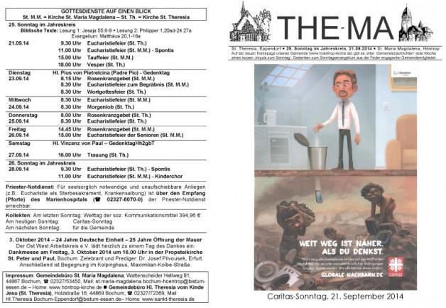 The-Ma zum 25. Sonntag im Jahreskreis 2014 (19.09.14)