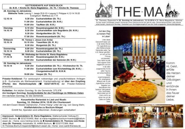 The-Ma zum 28. Sonntag im Jahreskreis 2014 (12.10.14)