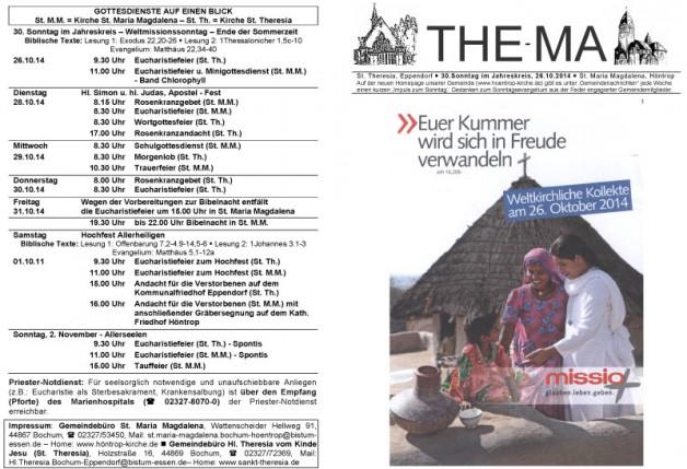 The-Ma zum 30. Sonntag im Jahreskreis 2014 (26.10.14)