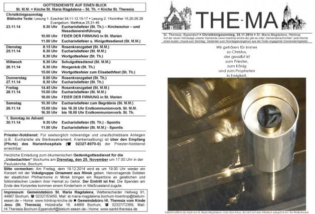 The-Ma zum 34. Sonntag im Jahreskreis 2014 (23.11.14)