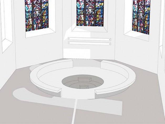 Im Chorraum der Pfarrkirche St. Agnes in Hamm ist ein Baptisterium geplant, das eine Ganzkörpertaufe möglich macht (Planzeichnung).
