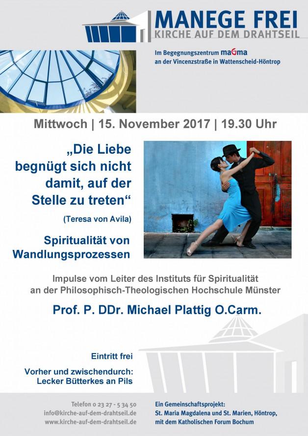 "15.11.17: ""Manege frei – Kirche auf dem Drahtseil"" mit Pater Prof. Dr. Dr. Michael Plattig O.Carm"