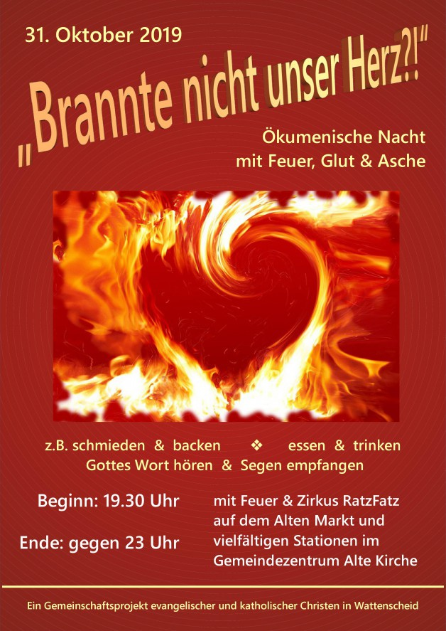 31.10.19: Ökumenische Bibelnacht mit Feuer, Glut & Asche