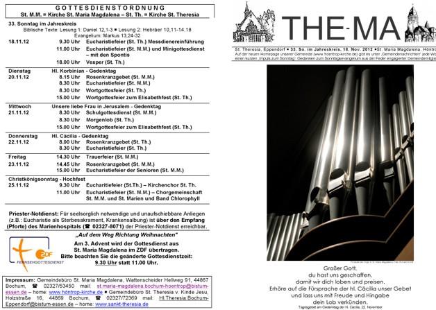 The-Ma zum 33. Sonntag im Jahreskreis am 18.11.2012