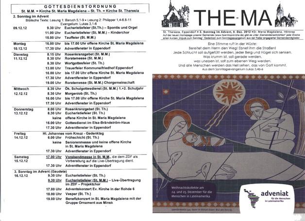 The-Ma zum 2. Sonntag im Advent (09.12.2012)